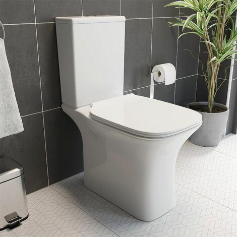 Close Coupled Rimless Toilet Pan CIstern Premium Soft Close Seat White Gloss