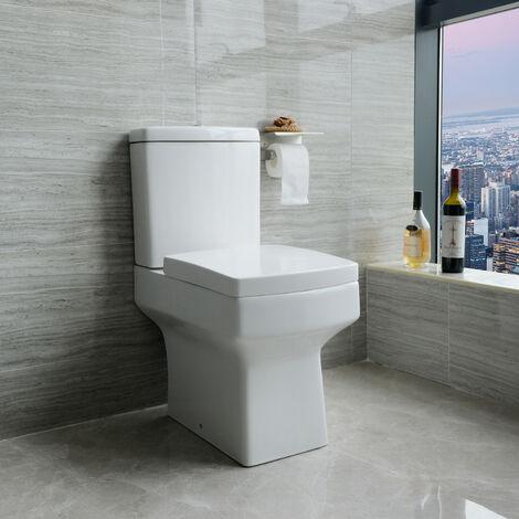"main image of ""Close Coupled Square Toilet Soft Close Seat Ceramic White WC Bathroom"""