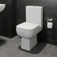 Close Coupled Toilet WC Modern Square Ceramic Soft Close Seat Pan