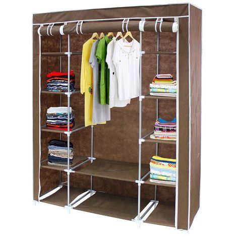 Closet , Wardrobe, 3 doors, 172 x 134 x 43 cm (67.7 x 52.8 x 16.9 inch), Brown, Weight: 3 kg