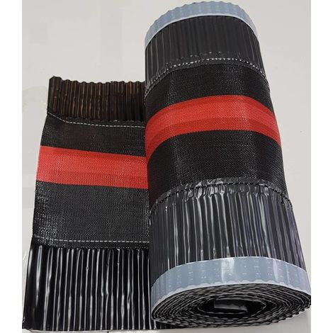 Closoir de faîtage souple arêtier, ventilé en aluminium 390 mm x 5Ml