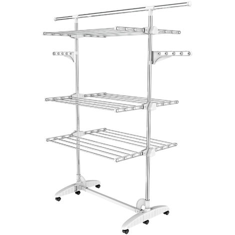Indoor Foldable Airer, Laundry Drying Rack, 3 shelves, White, with wings and extended top bar, Material: Stainless steel tubes
