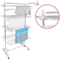 Clothes Airer, Laundry Drying Rack, 4 shelves, White, with wings and top bar, Material: Stainless steel tubes