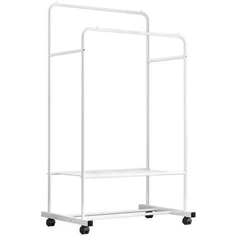 Clothes Double Rail Rack Hanging Garment Heavy Duty Coat Rolling Storage Shelf with Mesh Storage