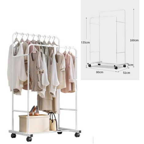 Clothes Double Rail Rack Hanging Garment Heavy Duty Coat Shelf Rolling Storage without Mesh Storage