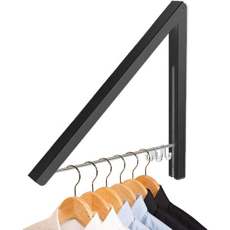 """main image of """"Clothes Drying Rack Wall Mount, Folding Clothes Airer Retachable Coat Rail for Laundry Room, Bedroom, Balcony, Motorhome (Black)"""""""