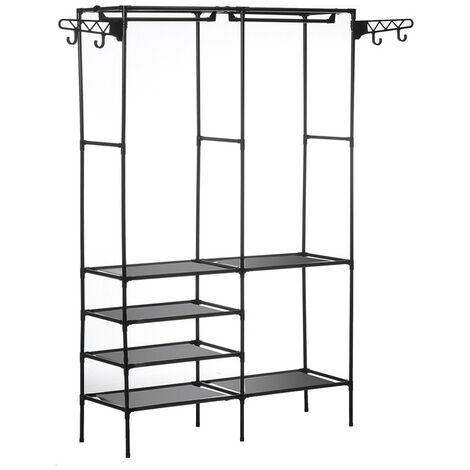 Clothes Hanger Coat Rack Floor Hanger Storage Wardrobe Racks Stand Black