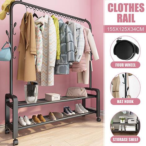 Clothes Hanger Metal Clothing Drying Racks Portable Coat Rack Scarf Hat Wardrobe black 125*34*155cm