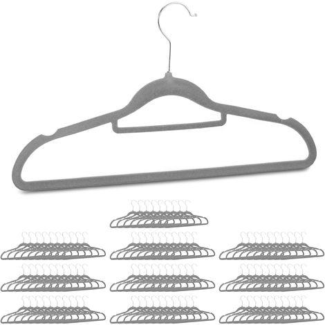 Clothes Hangers Set of 100, Narrow, Space-Saving Trouser Hangers, Velvet, Plastic, HWD: 22.5 x 41 x 0.6 cm, Various Packs