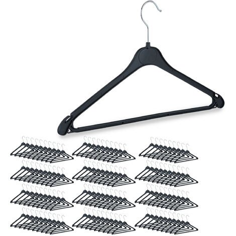 Clothes Hangers with Pants Rail, Set of 120, Shirts, Blouses, Skirts, Swivel Hooks, Plastic, Black