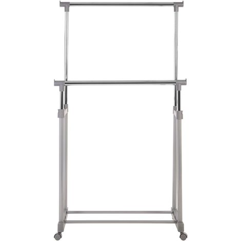 Clothes Hanging Rail,Double Rail/Wheels,Grey/Chrome Finish
