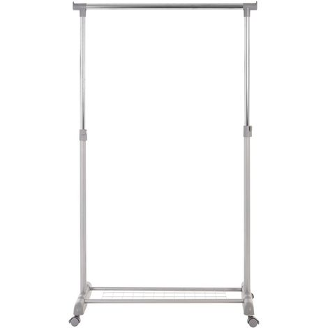 Clothes Hanging Rail,Shoe Rack/Wheels,Grey/Chrome Finish