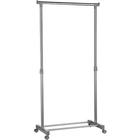 Clothes Hanging Rail,With Wheels,Grey/Chrome Finish