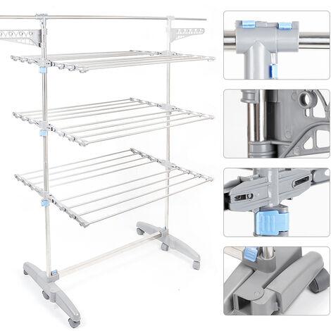 Clothes line, 3 shelves , Folding legs , Gray