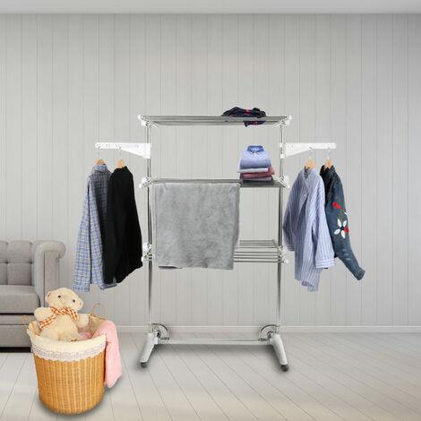 Clothes line, 3 shelves , Folding legs , White