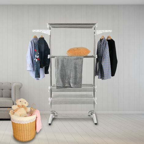 Clothes line, 4 shelves, White, Material: Stainless steel tubes