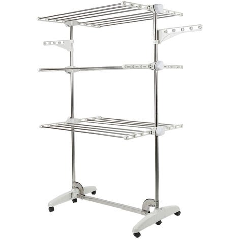 Clothes Rack, Airer, 3 Shelves, White, with Wings, Dimensions: 142 x 82 x 64 cm