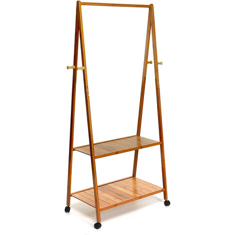 Clothes Rack Coat Garment Stand Portable Bamboo Rail Hanger Airer Closet 70X34X149CM