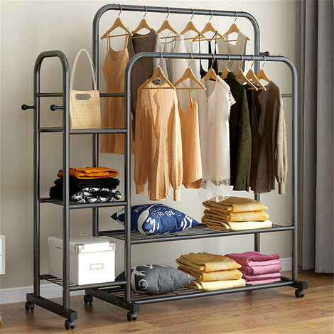 Clothes rack Hanging shelves for clothes with wheel
