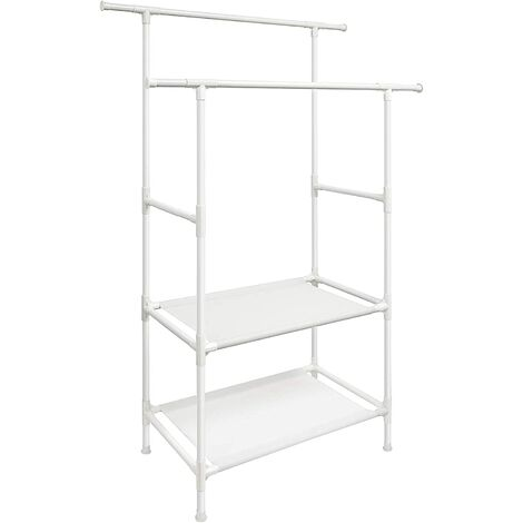 Clothes Rack, Metal Clothing Stand with 2 Hanging Rails and 2 Storage Shelves, Max. Load 80 kg, Easy Assembly, White RDR02WT
