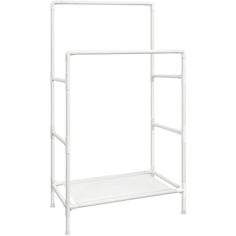 Clothes Rack, Metal Stand with 2 Hanging Rails and Storage Shelf, Max. Load 70 kg, Easy Assembly, White RDR01WT