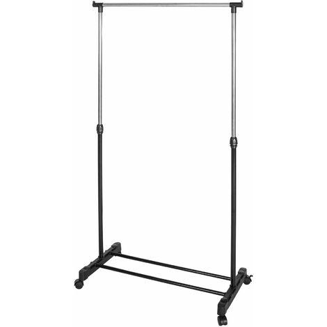 Clothes rack on wheels extendable rail - clothes stand, clothes rail, clothes hanger stand - black