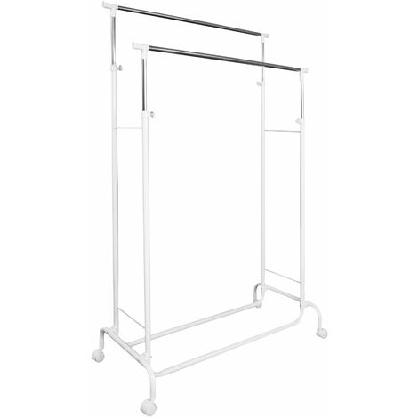 Clothes rack on wheels with 2 extendable rails - clothes stand, clothes rail, clothes hanger stand - white