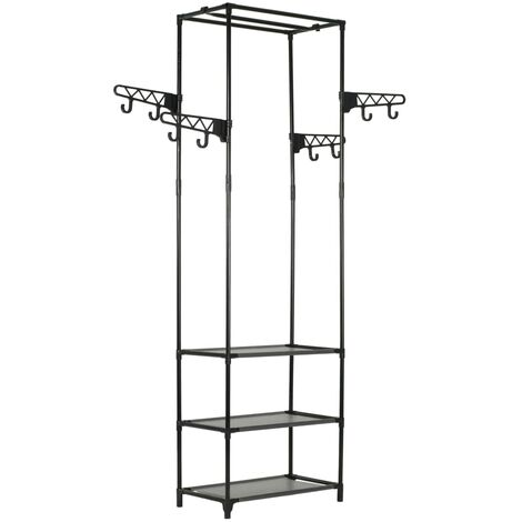 Clothes Rack Steel and Non-woven Fabric 55x28.5x175 cm Black - Black