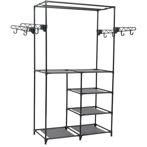 Clothes Rack Steel and Non-woven Fabric 87x44x158 cm Black - Black