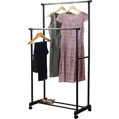 Clothes rack with 4 wheels - Height and width adjustable - L 84-150 x D 42 x H 108-170cm - Stainless steel frame