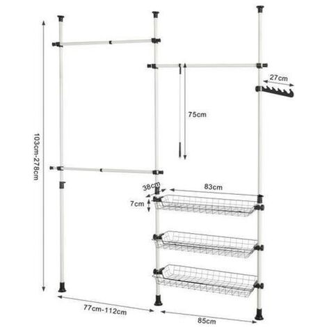 Clothes Rack with Adjustable Rods - 150-200 * 145-320CM
