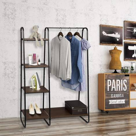 Clothes rack with shelves made of metal and wood 102x40X150cm dark brown-black