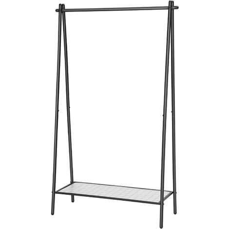 Clothes Rack with Steel Structure, Garment Rack with Hanging Rail, Bottom Shelf, Simple Look, for Bedroom Entrance Attic Basement, 92.5 x 33.5 x 153 cm, Matte Black HSR23BK
