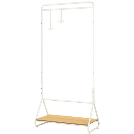 Clothes Stand Rack with Hanging Rail, Heavy Duty Garment Rack with Wooden Storage Shelf and 2 Swivel Hooks for Coats, Hats, Clothing, HSR30WY
