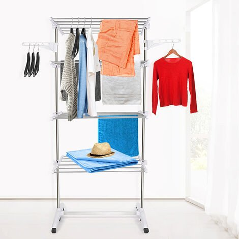 Clothesline, 4 shelves, White, with wings, Material: Stainless steel tubes