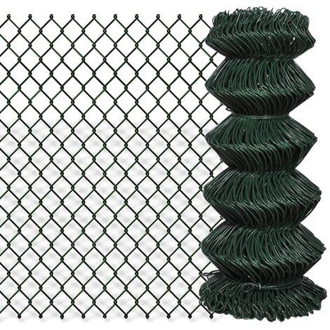 Clôture à mailles losangées Acier galvanisé 0,8x15 m Vert