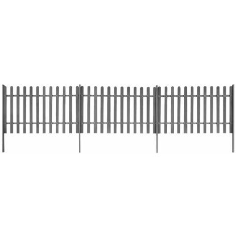 Clôture à piquets avec poteaux 3 pcs WPC 600x100 cm