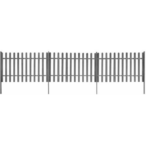 Clôture à piquets avec poteaux 3 pcs WPC 600x120 cm