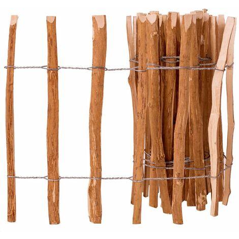 Clôture à piquets Bois de noisetier 60 x 500 cm Brun