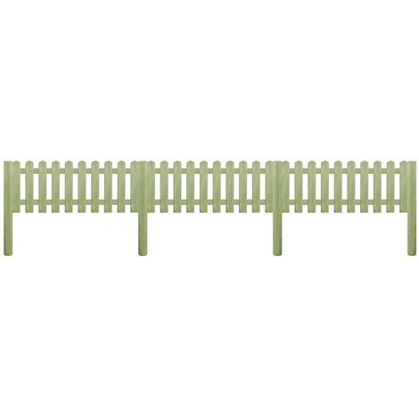 Clôture à piquets Bois de pin imprégné 5,1 m 110 cm 6/9 cm