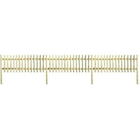 Clôture à piquets Bois de pin imprégné 5,1 m 150 cm 5/7 cm