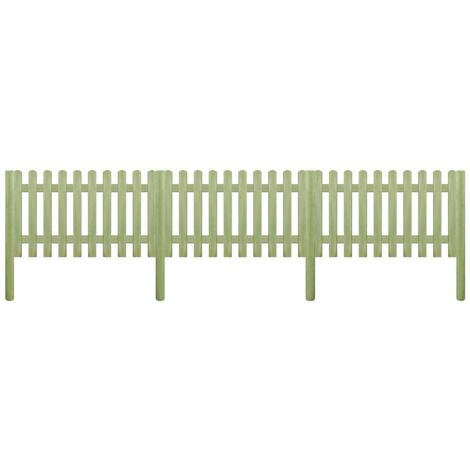 Clôture à piquets Bois de pin imprégné 5,1 m 150 cm 6/9 cm