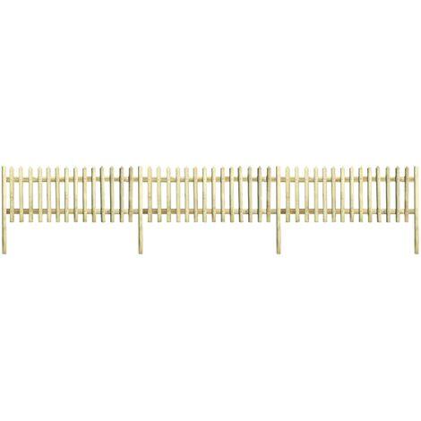 Clôture à piquets Bois de pin imprégné 5,1 m 170 cm 5/7 cm