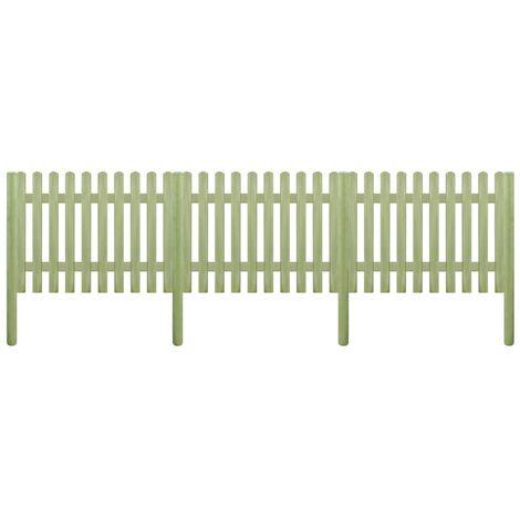 Clôture à piquets Bois de pin imprégné 5,1 m 170 cm 6/9 cm