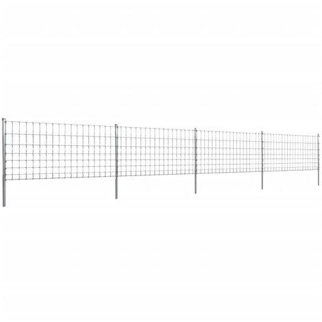 Clôture avec poteaux Fer enduit de zinc 50 m 100/8/15