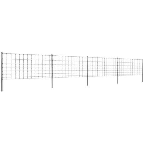 Clôture avec poteaux Fer enduit de zinc 50 m 100/8/30