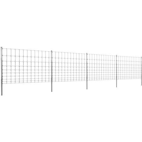 Clôture avec poteaux Fer enduit de zinc 50 m 120/10/30