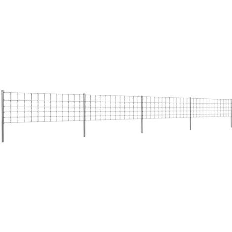 Clôture avec poteaux Fer enduit de zinc 50 m 80/6/30