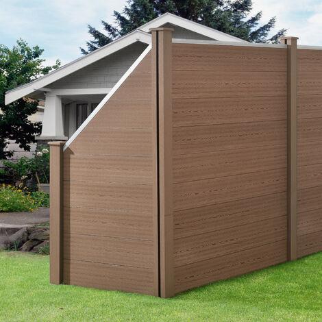 Clôture Brise Vue Brise Vent Bois Composite (WPC) Quadratique et Oblique Brun 183 x 973 cm