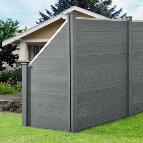 Clôture Brise Vue Brise Vent Bois Composite (WPC) Quadratique et Oblique Gris 183 x 973 cm